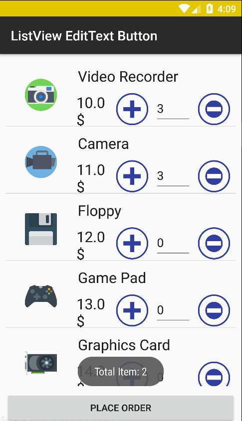 Android Custom ListView with ImageView EditText and Button